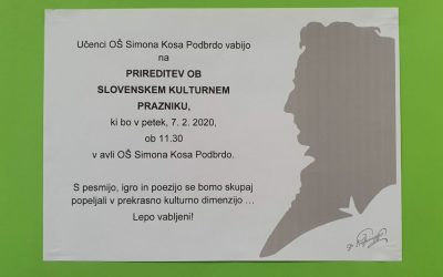 VABILO NA PRIREDITEV OB SLOVENSKEM KULTURNEM PRAZNIKU