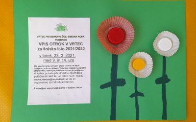 VPIS OTROK V VRTEC
